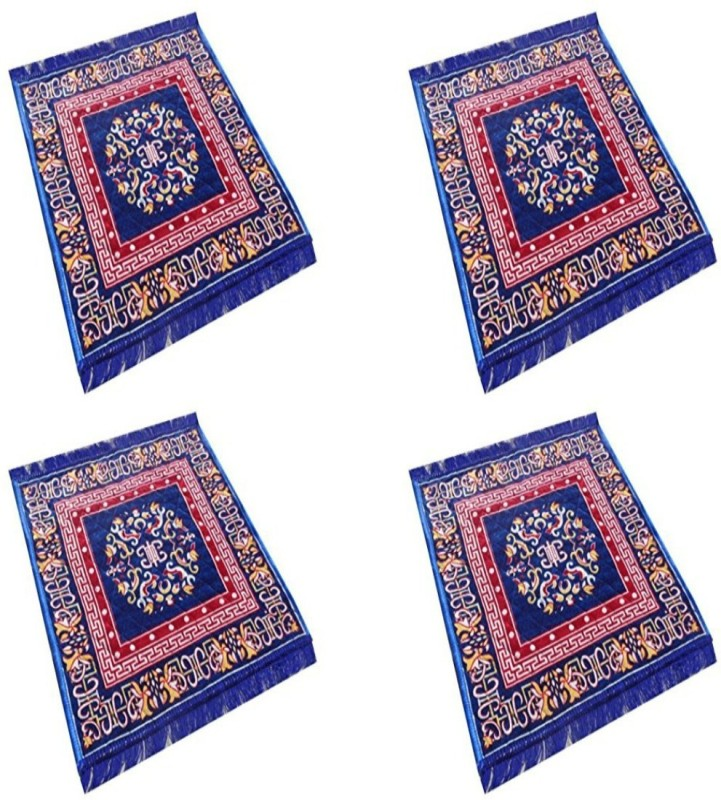 ASIAN HANDLOOM Polyester Prayer Mat(Blue, Medium)