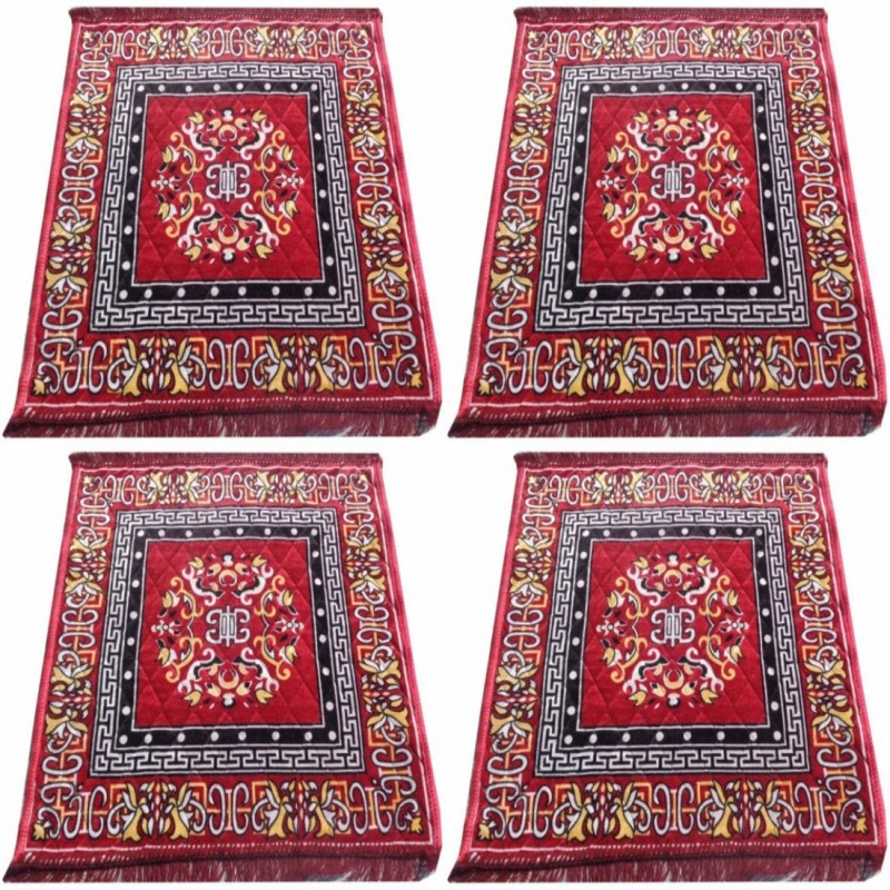 ASIAN HANDLOOM Polyester Prayer Mat(Maroon, Medium)