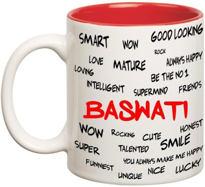 Huppme Good Personality Baswati Inner Red Ceramic Mug(350 ml)