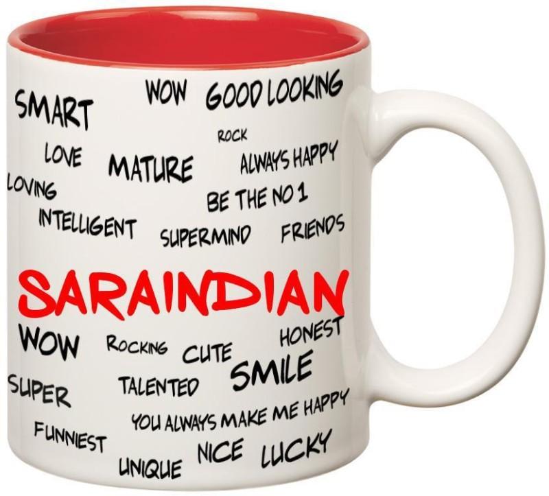 Huppme Good Personality Saraindian Inner Red Ceramic Mug(350 ml)
