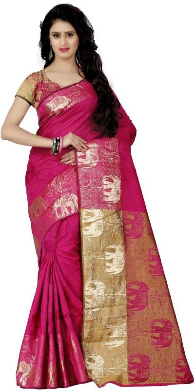 Trendz Style Woven Fashion Jacquard Saree(Pink)