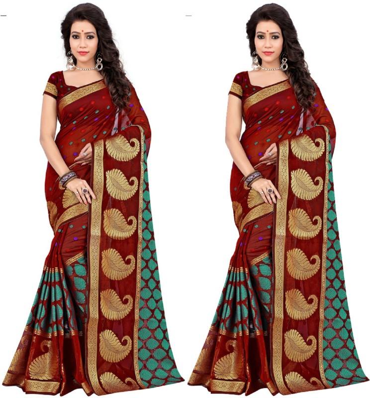 Aksh Fashion Self Design Fashion Banarasi Silk Saree(Pack of 2, Multicolor)