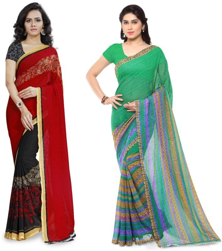 Kashvi Sarees Printed Fashion Faux Georgette Saree(Pack of 2, Multicolor)
