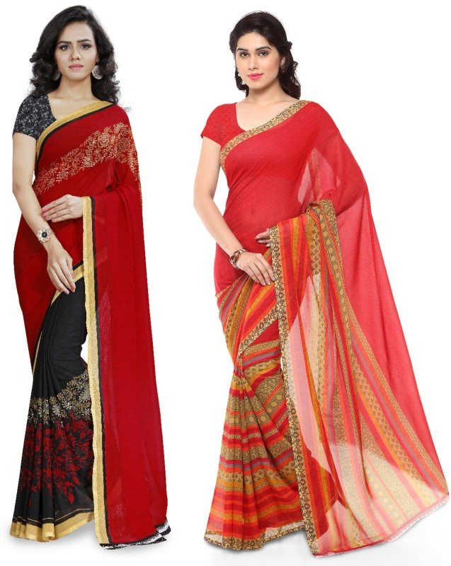 Anand Sarees Printed Fashion Faux Georgette Saree(Pack of 2, Multicolor)
