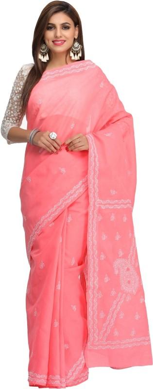 Ada Embroidered Lucknow Chikankari Handloom Cotton Saree(Pink)