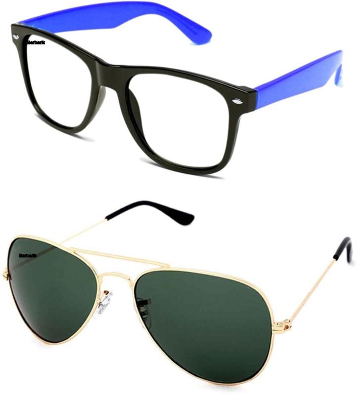 Barbarik Aviator, Wayfarer Sunglasses(Green, Clear) image