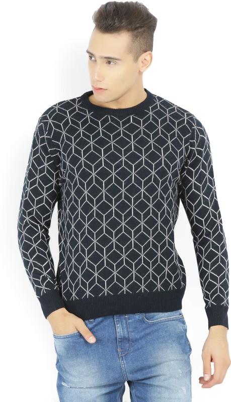 Wrangler Checkered Round Neck Casual Mens Dark Blue Sweater