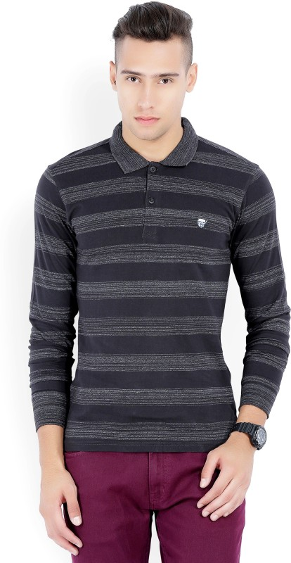 John Players Checkered Mens Polo Neck Black T-Shirt