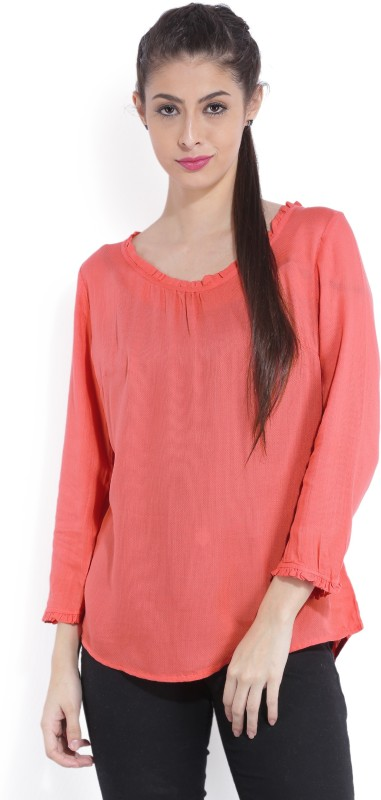 Bossini Casual Full Sleeve Solid Women Pink Top