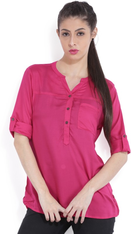 Bossini Casual Roll-up Sleeve Solid Women Pink Top