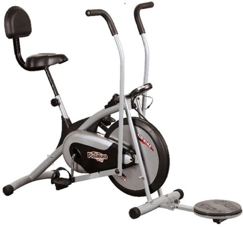 Body Gym Air Bike Platinum Dx With Backrest & Twister Indoor Cycles Exercise Bike(Black, Grey)