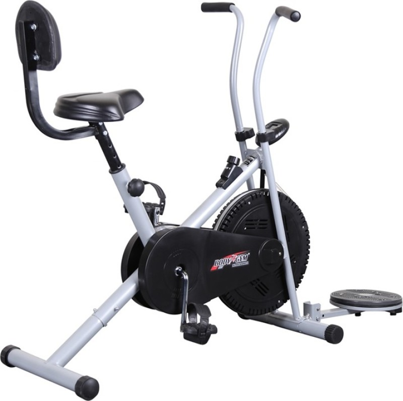 Body Gym Air Bike Bga 1001 With Backrest & Twister Indoor Cycles Exercise Bike(Black, Grey)