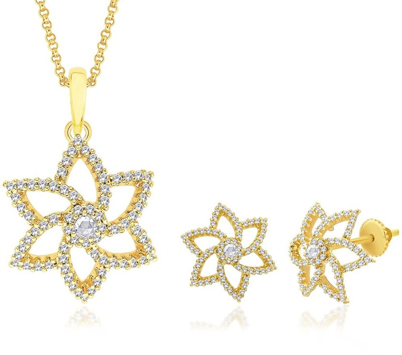Vama Fashions 18 karat Gold Plated with Swiss Cubic Zirconia (CZ) Micro Pave Setting Pendent Earring Jewellery Set + Free Chain - online shopping for Jewellery. Rhodium Alloy Pendant Set
