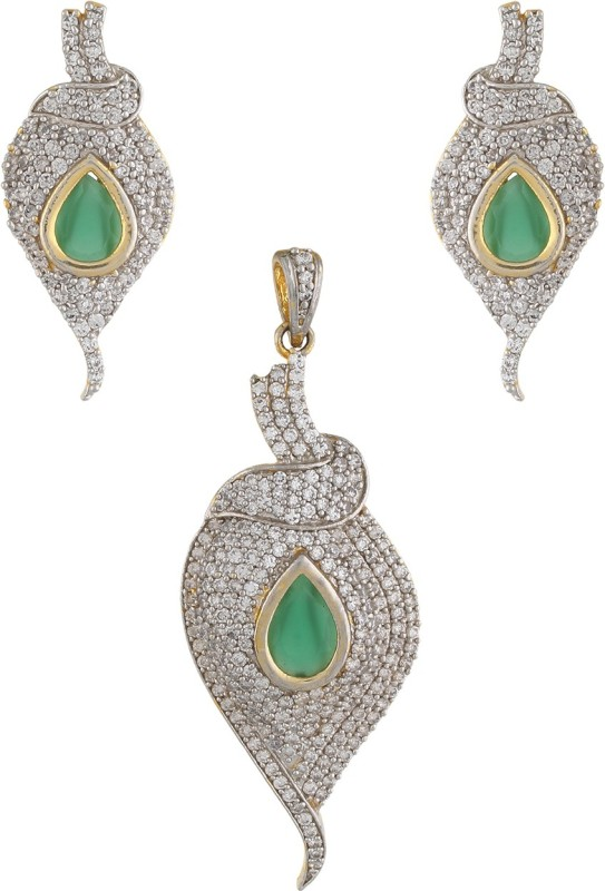 Vama Fashions Gold & Rodium Plated Cubic Zirconia (CZ) Grant Diamond Finish Pendent Earring Jewellery Set With Changeable stones + Free Chain - online shopping for Jewellery Rhodium Alloy Pendant Set