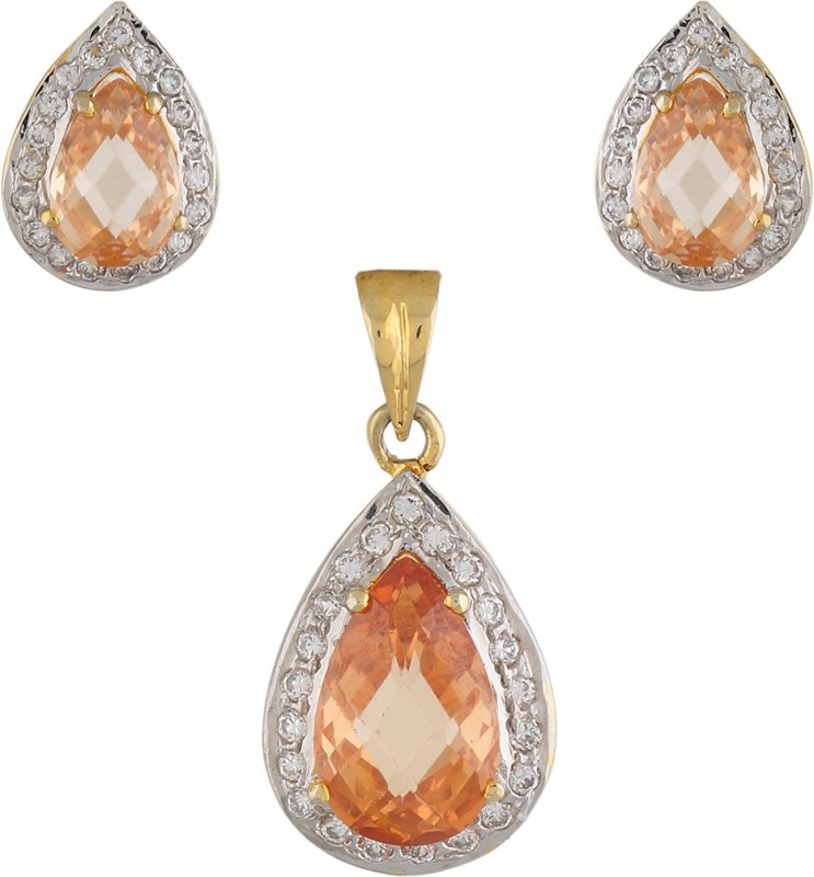 Vama Fashions Champagne Colour Gold & Rhodium Plated Cubic Zirconia (CZ) Tear Shape Pendent Earring Jewellery Set + Free Chain - online shopping for Jewellery Rhodium Alloy Pendant Set