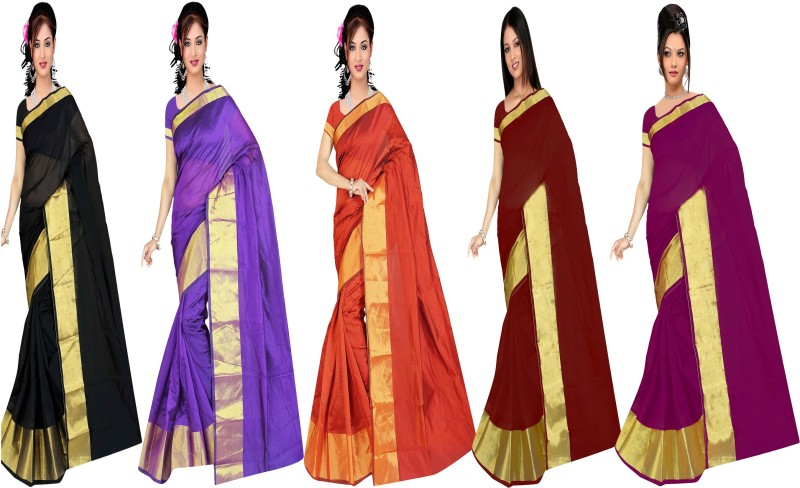 jayant creation Plain Daily Wear Dupion Silk Saree(Pack of 5, Multicolor)