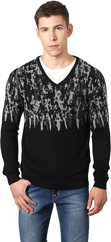 Peter England Self Design V-neck Casual Men Black Sweater