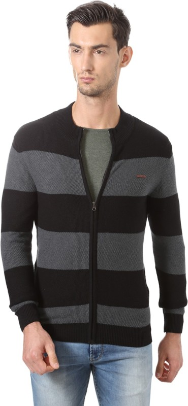 Allen Solly Striped Crew Neck Casual Men Black Sweater
