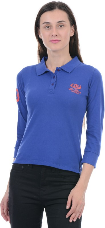 Pepe Jeans Solid Women Polo Neck Blue T-Shirt