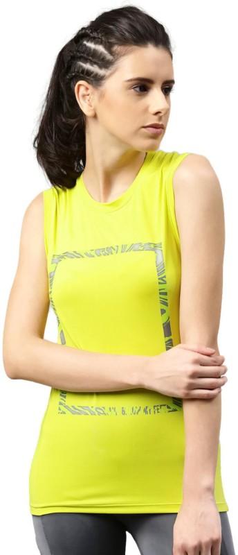 HRX by Hrithik Roshan Printed Women Round Neck Yellow T-Shirt