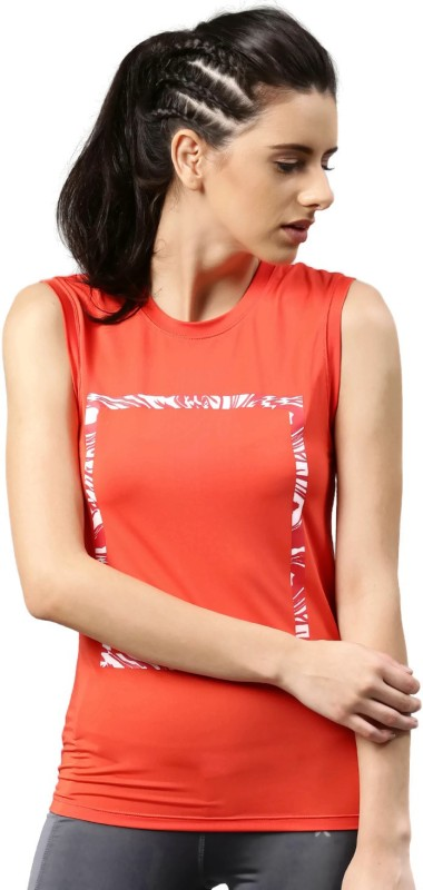 HRX by Hrithik Roshan Printed Women Round Neck Red T-Shirt