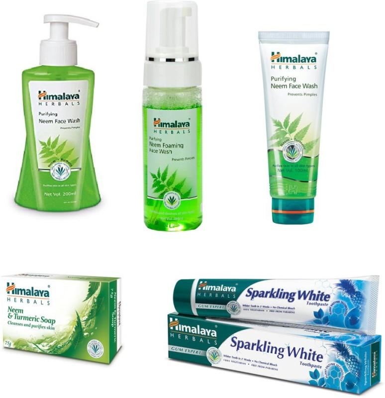 Himalaya Purifying Neem Face Wash, Purifying Neem Foaming Face Wash, Purifying Neem Face Wash, Neem & Turmeric Soap, Toothspate(Set of)