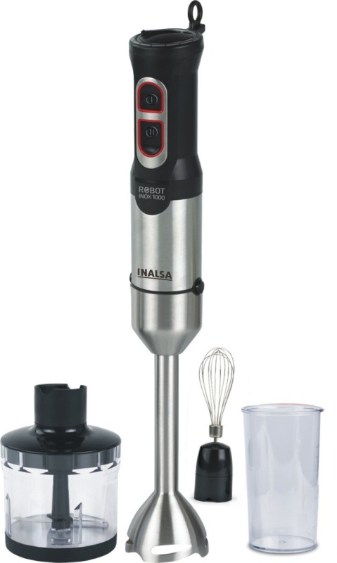 Inalsa Robot Inox 1000 with Chopper DC Motor 800 W Hand Blender(Black, Silver)