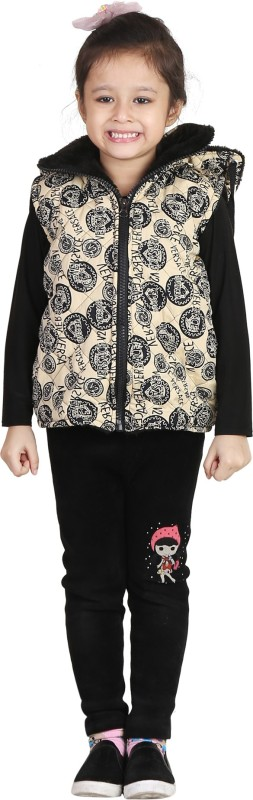Crazeis Half Sleeve Printed Girls Quilted Jacket