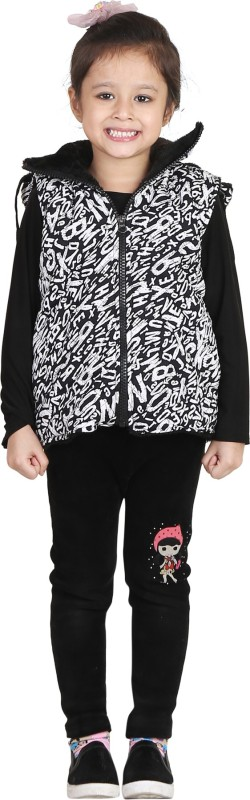 Crazeis Half Sleeve Printed Girls Quilted Jacket Jacket