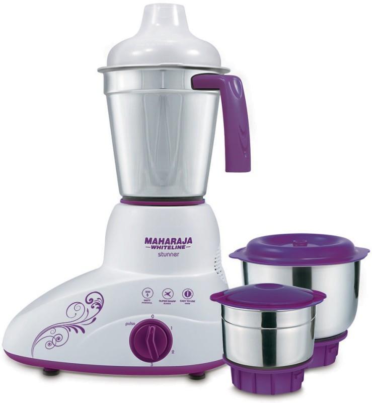 Maharaja Whiteline Stunner MX-168 500-Watt Mixer Grinder with 3 Jars (Purple/White) 500 W Mixer Grinder(White, 3 Jars)