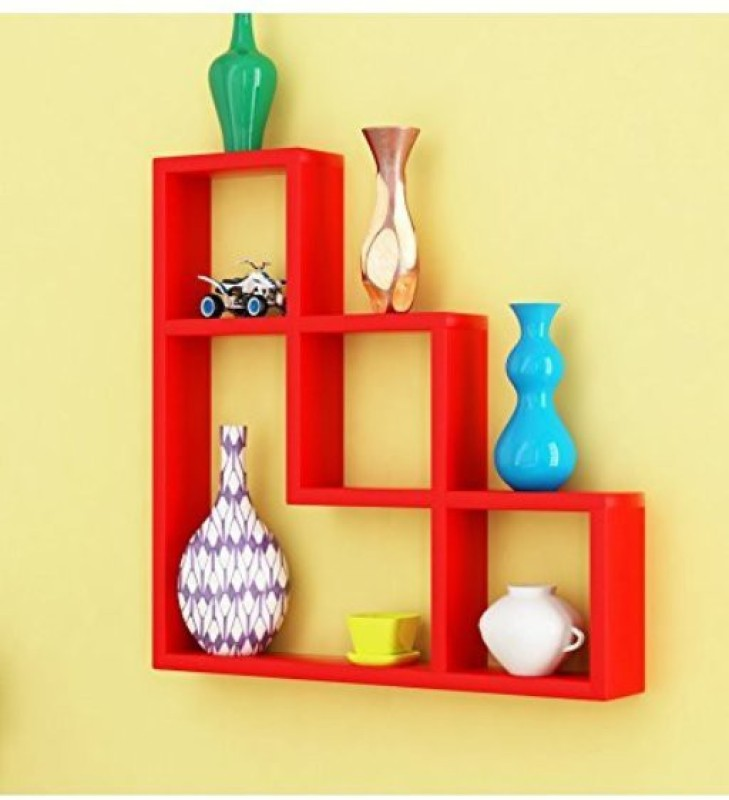 Decorasia L Shape MDF Wall Shelf(Number of Shelves - 7, Red)