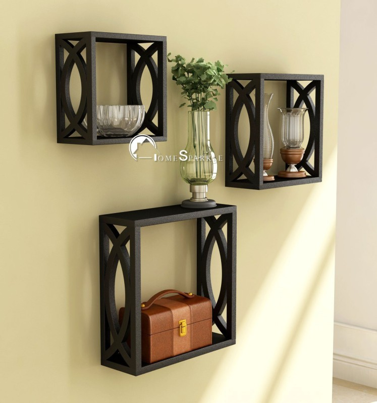 TECH DECOR Wooden Cubes Wooden Wall Shelf(Number of Shelves - 3, Black)