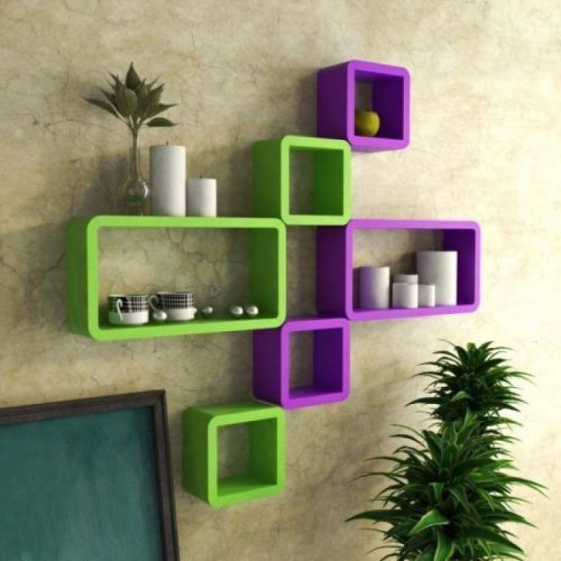 CraftOnline wall shelf Wooden Wall Shelf(Number of Shelves - 6, Green, Purple)