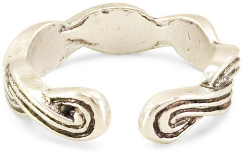 silverstoli New Stunning Design Stylish White Colour Alloy Platinum Plated Toe Ring