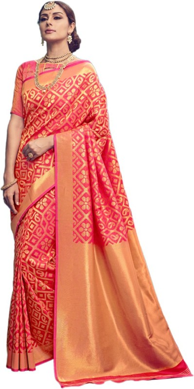Salwar Kameez Woven Kanjivaram Silk Wool Blend Saree(Pink)