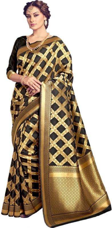 Salwar Kameez Woven Kanjivaram Art Silk Saree(Black)