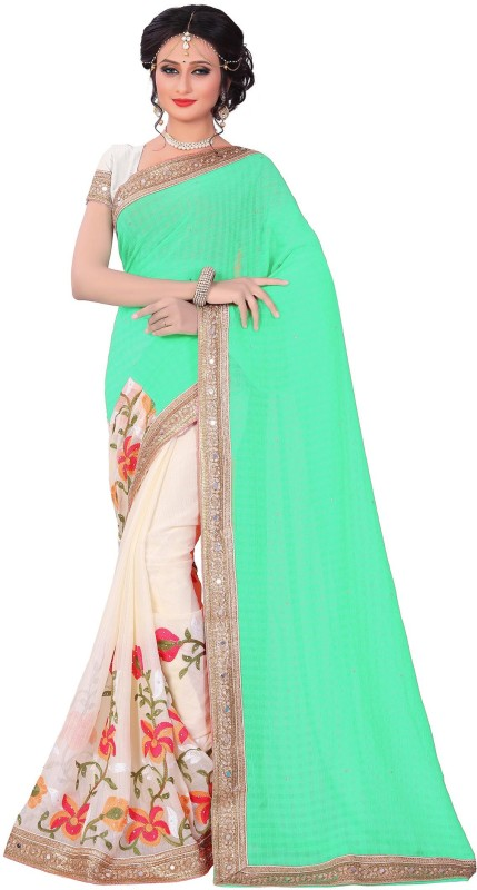 M.S.Retail Embroidered Bollywood Chiffon Saree(Light Blue)