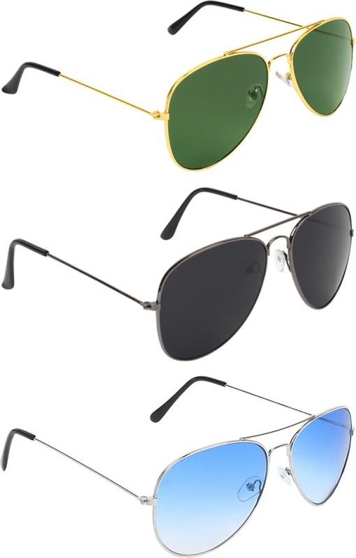 Abner Aviator, Aviator, Aviator Sunglasses(Green, Black, Blue) image