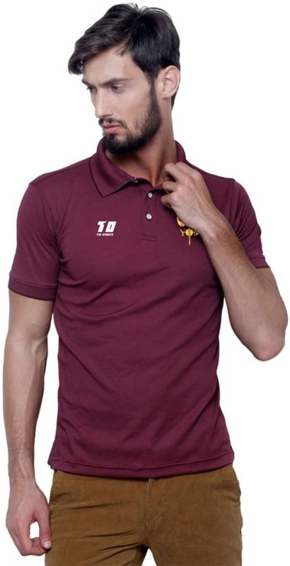 T10 Sports Printed Men & Women Polo Neck Maroon T-Shirt