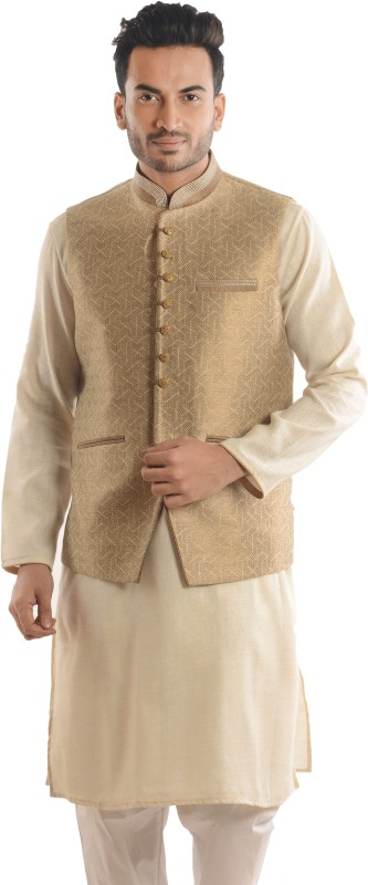 Roshan Sleeveless Geometric Print Men Nehru Jacket