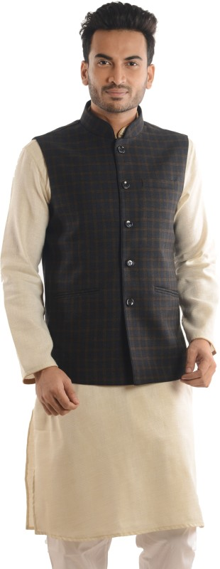 Roshan Sleeveless Checkered Men Nehru Jacket