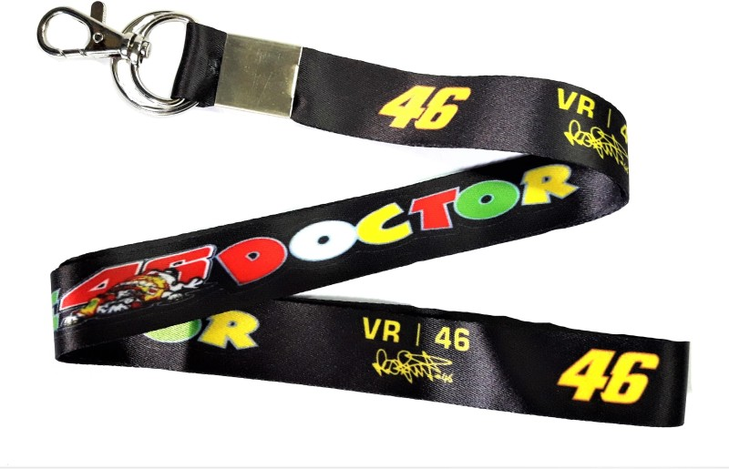 Blue Aura The Doctor Valentino Rossi VR 46 Key chain With Lock Lanyard(black)