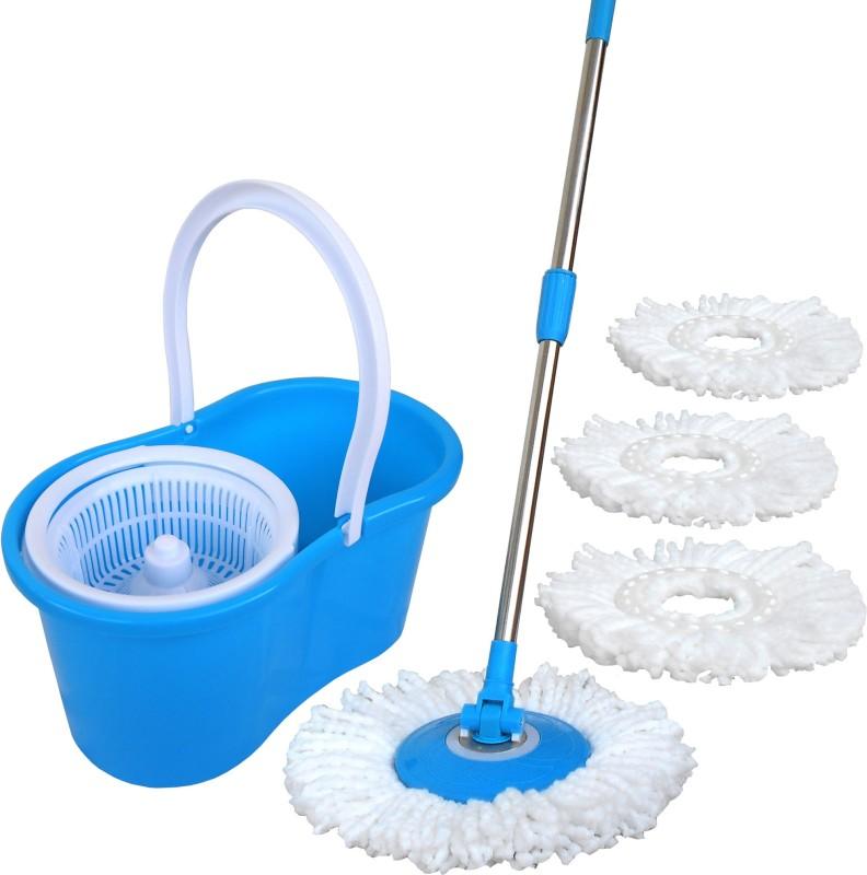 WCSE Light blue high quality 2+2 Absorber heads Wet & Dry Mop(Blue)