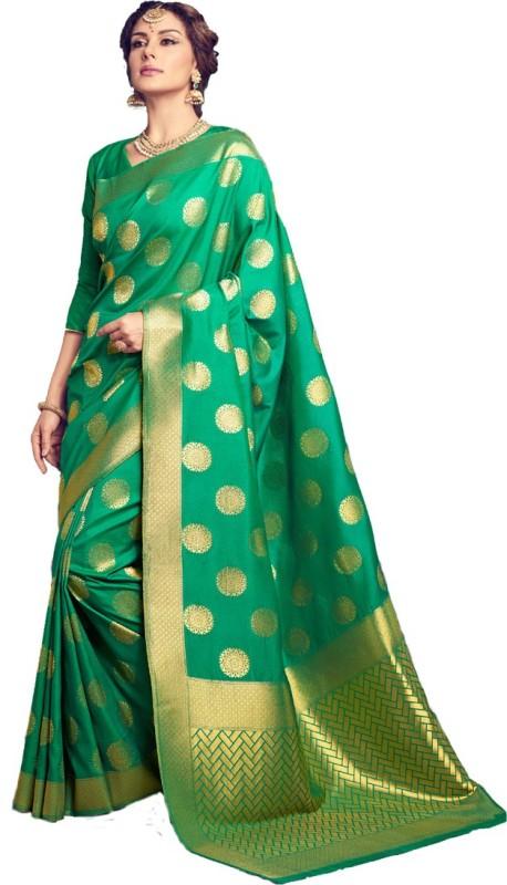 Salwar Kameez Woven Kanjivaram Silk Wool Blend Saree(Green)