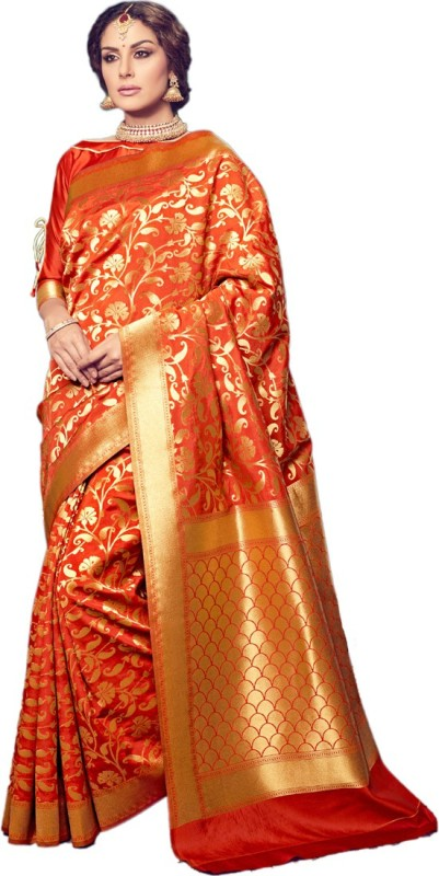 Salwar Kameez Printed Kanjivaram Silk Wool Blend Saree(Orange)
