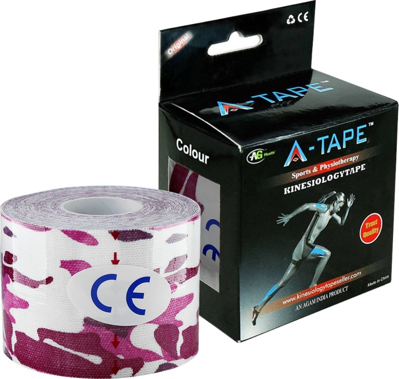 A-TAPE Kinesiology Tape Knee, Calf & Thigh Support (Free Size, (Pink/White))