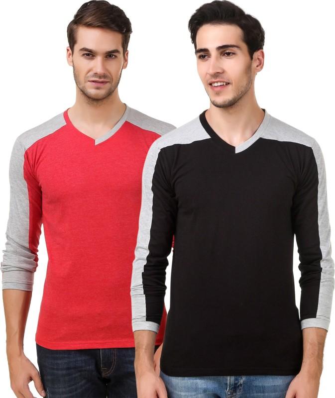 Sen Voler Solid Men V-neck Red, Black T-Shirt(Pack of 2)