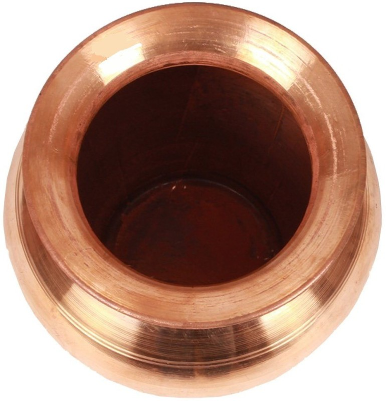 VibeX Copper Lota Kalash Pot Used as Poojan Worship Home Temple Garden Storage Water beneficial for Health Water Pitcher(1.5 L)