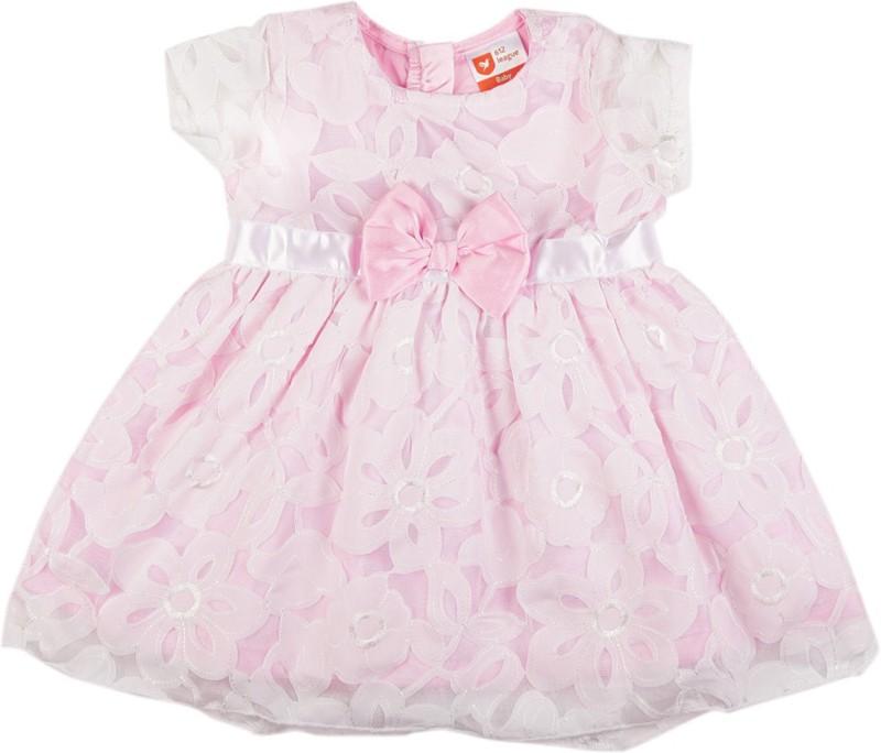 612 League Girls Midi/Knee Length Casual Dress(Pink, Half Sleeve)