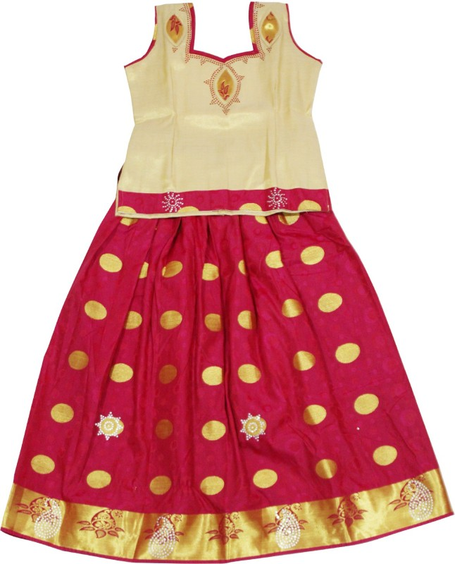 KANAKADARA Baby Girls Lehenga Choli Ethnic Wear Self Design Lehenga Choli(Maroon, Pack...